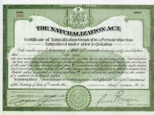 Printed document with green border and text granting naturalization to immigrants under The Naturalization Act of Canada