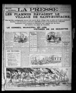 Black and white photograph of an article in the La Press newspaper, dating from 1910. The article describes one of the most devastating fires in the history of Saint-Eustache.