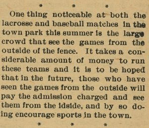 A newspaper clipping reporting on the crowds viewing lacrosse and baseball matches without paying
