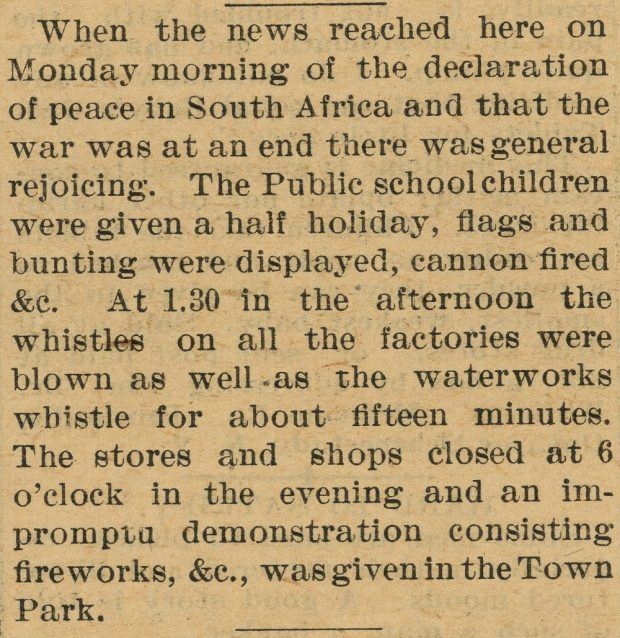 A clipping from a newspaper detailing celebratory events following news of the declaration of peace in South Africa in 1902