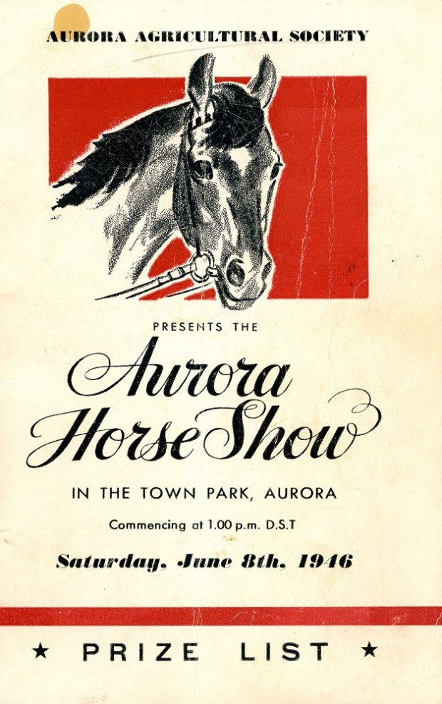 The cover of a program printed in black ink on cream paper depicting a drawing of a horse's head set against a red background together with printed details concerning the event