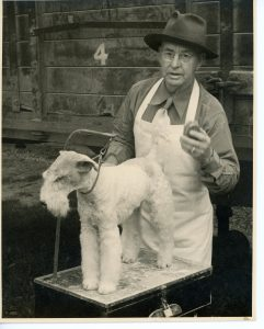 A black and white photograph of a man standing behind a short haired white terrier dog that is tethered on a raised platform; the man holds a brush in his left hand and is wearing a hat, shirt and tie under a white apron; a wooden structure is in the back , the number 4 stenciled on a horizontal plank