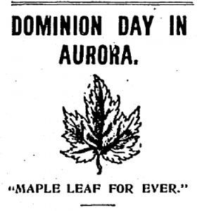 A black and white newspaper clipping of text and an image of a maple leaf.