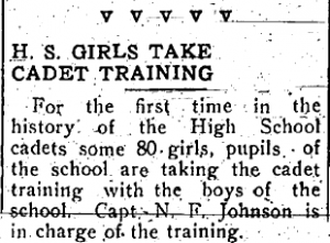 Small black and white image of a typed newspaper announcement regarding girl cadet training