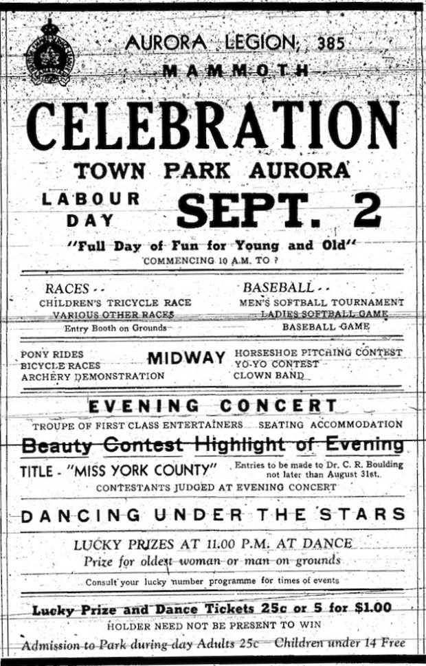 A black and white newspaper advertisement for the Aurora Legion Carnival featuring a small graphic image of the Legion crest in the upper left corner and descriptive text about the event.
