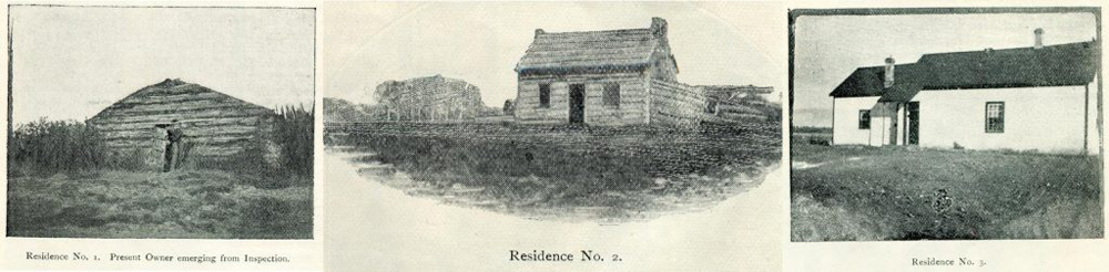 Set of three black and white photos, each with a small log building. The first one is a small log house with a man in the doorway, the center one is a larger gable roof log house, and the third is the largest painted log house.