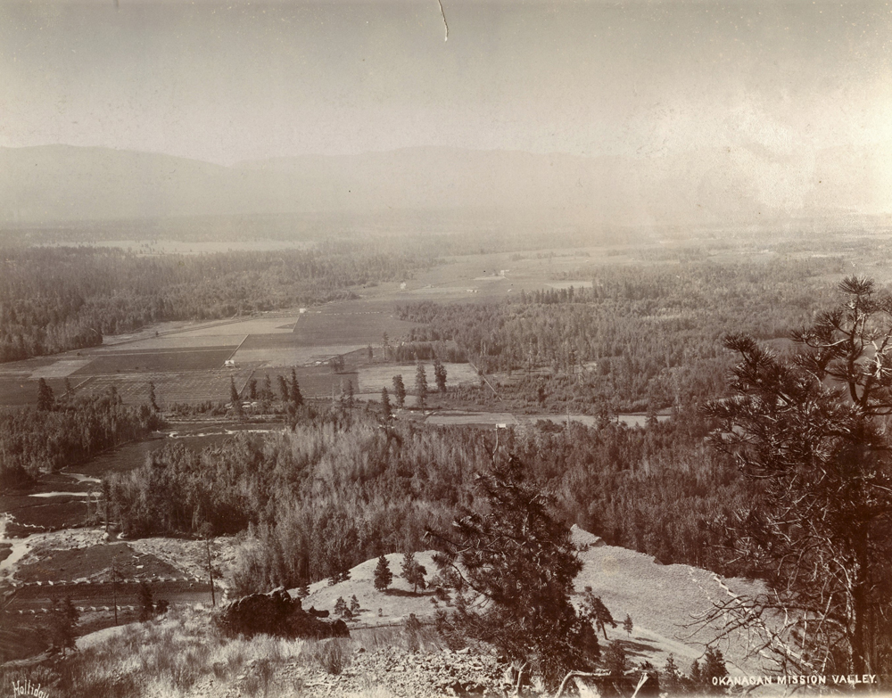 Black and white photo with expansive view from the top of a hill looking across the valley with its fields and treed areas.