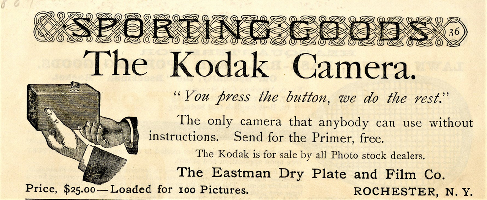 Early advertisement for the first Kodak box camera with logo