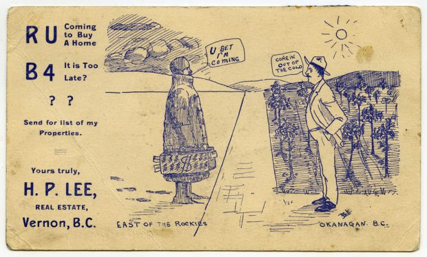 A drawn advertisement with man in the sunny Okanagan with fruit trees saying 'Come in out of the Cold' to the person in warm clothes with a bag of money.