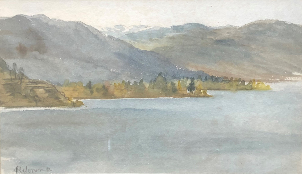 Watercolour of a lake with the trees and hills on the far shore.