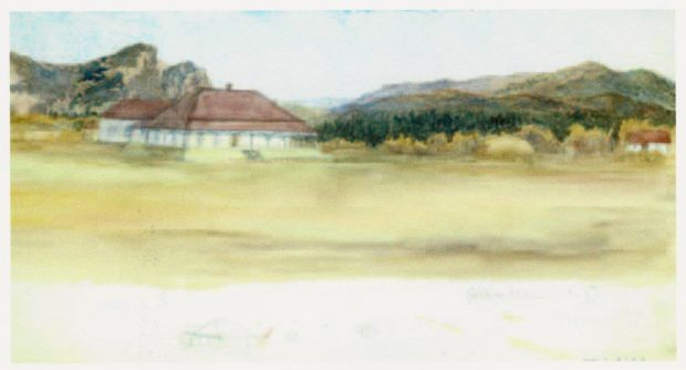 Watercolour of a one-storey white house with a red roof and a smaller house to the left with hills and trees in the background.