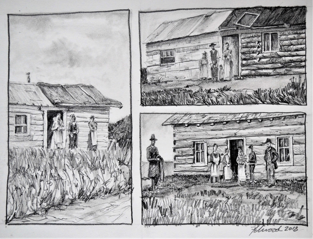 Set of three drawings showing early rustic log cabins with prairie settlers in front.