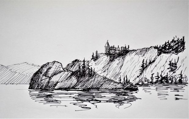 Ink drawing of a lake and a large spit of land with trees and a large house perched at the top of the hill.