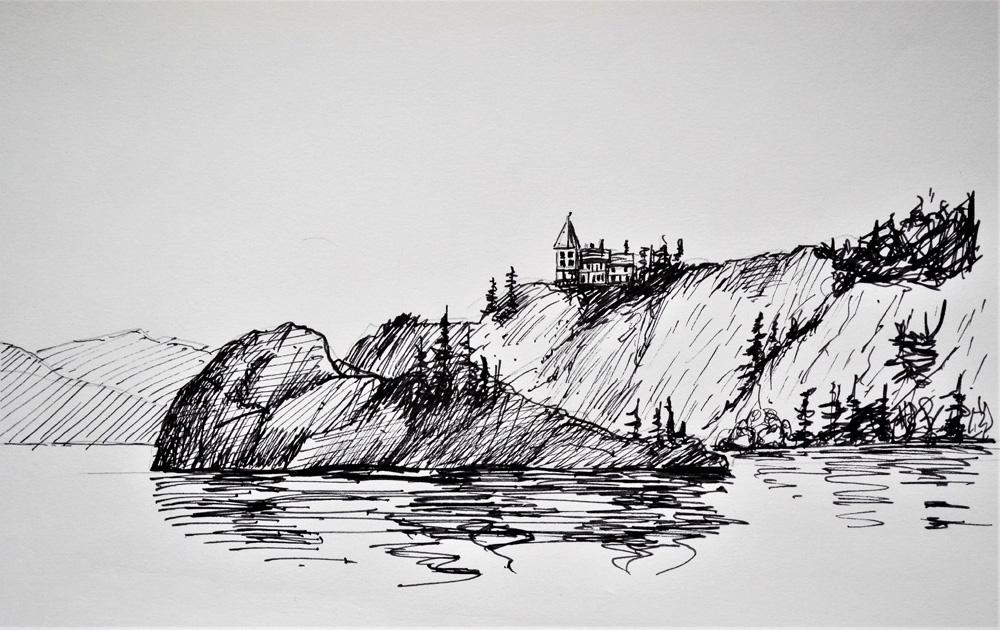 Dessin à l'encre représentant un lac, une grande bande de terre avec des arbres et une grande maison perchée au sommet d'une colline.