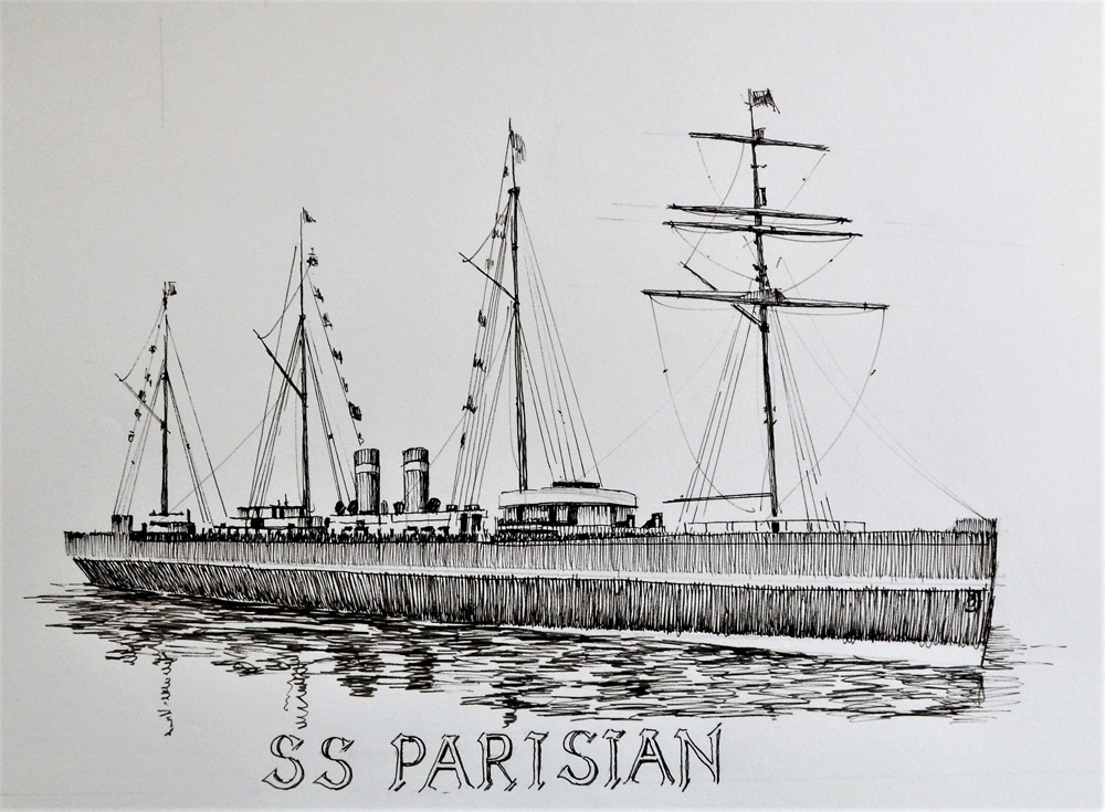 Ink drawing of a long 1890 steamship with four masts, named S.S. Parisian.