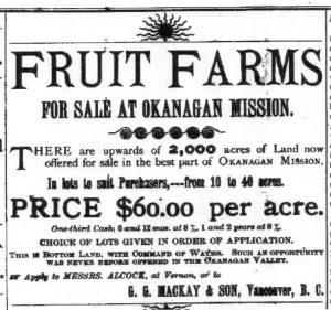Annonce publicitaire ancienne pour des fermes fruitières à vendre dans la Mission de l'Okanagan.