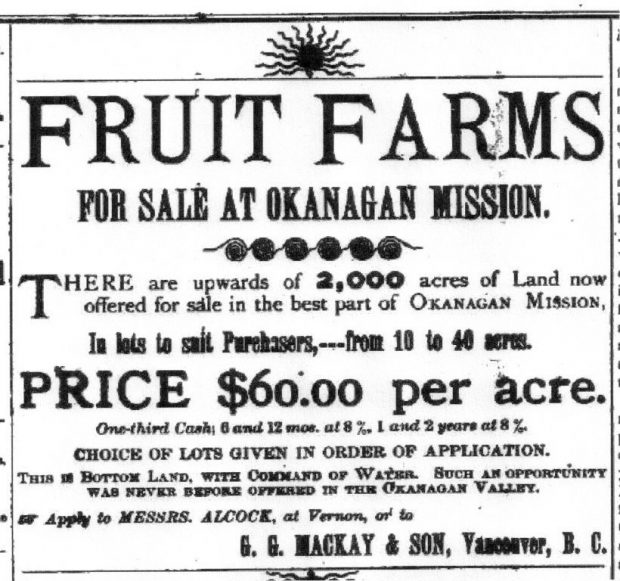 Old fashioned advertisement for Fruit Farms for Sale at Okanagan Mission.