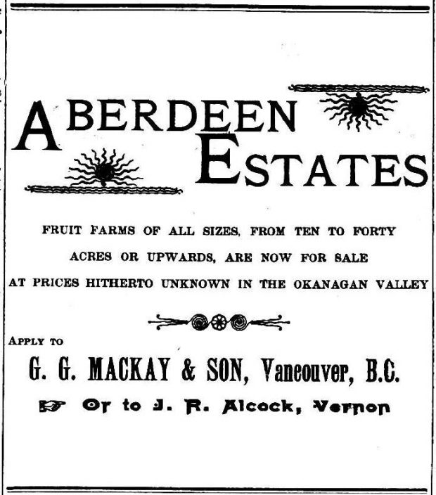 Old fashioned advertisement for the sale of fruit farms in the Okanagan Valley