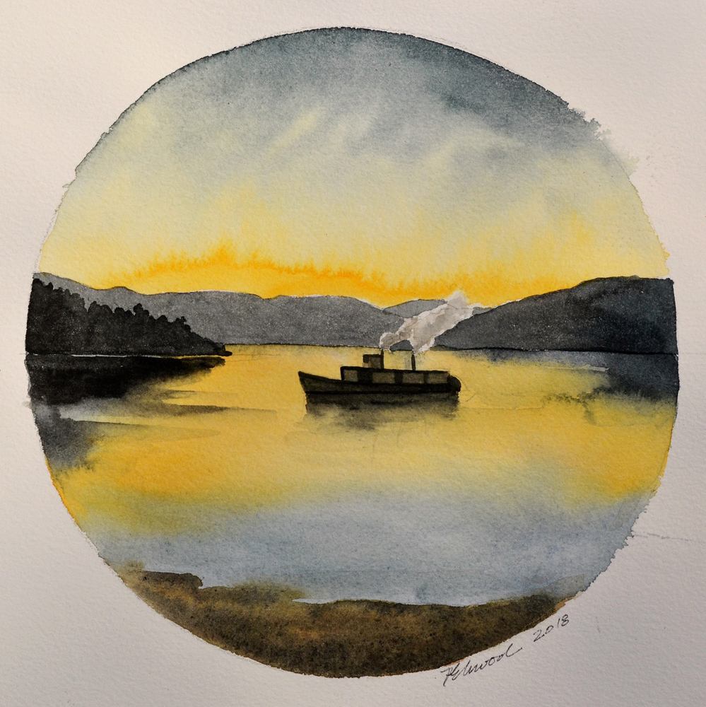A circular watercolour of a small steamboat on a lake at sunset with hills behind.