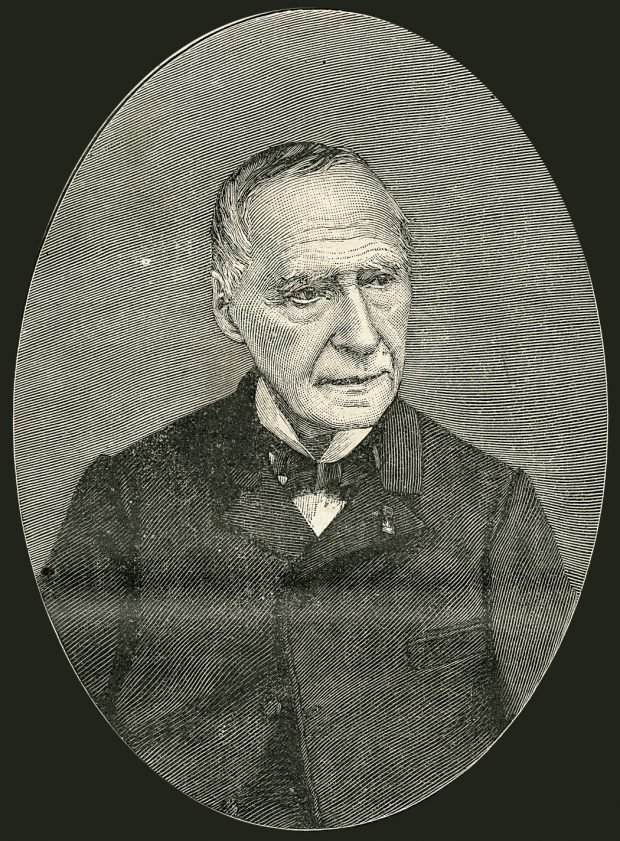 Black ink engraving depicting an elderly man, head turned slightly to the right. He wears a pale-coloured shirt with a bowtie and a jacket buttoned only once, at the top. He has a receding hairline, dark hair streaked with grey, and a number of deep lines in his face.