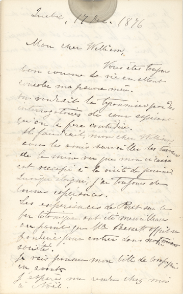 Handwritten letter from Curé Labelle to William Scott