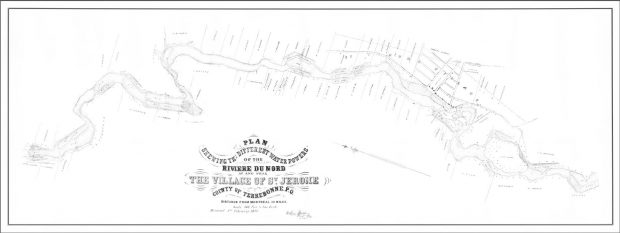 """Hand-drawn plan of a stretch of a river. The plan shows the location of lots, streets and buildings. The river rapids are indicated as waterpower sites. The legend below the map reads: """"Plan shewing [sic] the different water powers of the Rivière du Nord, at and near the village of St. Jerome."""""""