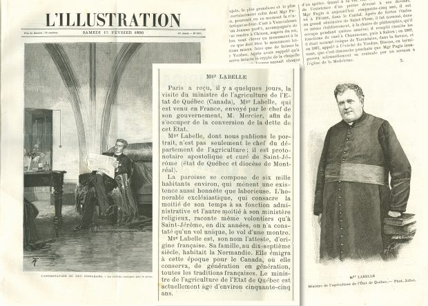 "Photomontage of three clippings from French newspapers published in 1890. At left, a printed engraving shows a seated man reading a newspaper. In the centre is article titled ""Mgr Labelle."" At right is a page from a newspaper with text at top and an engraving from a photograph of Curé Labelle at bottom."