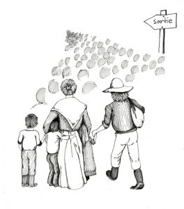 "Illustration of a group of people headed toward an exit. A father, mother and three children, seen from the rear, are the only ones drawn in detail. Ahead of them, small shaded circles represent a crowd of people walking toward a distant point. To the right of the crowd is a sign that reads sortie (""exit"")."