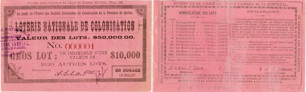 Images of the obverse and reverse of a lottery ticket printed on bright pink rectangular card stock. The obverse bears the name of the lottery, the beneficiary organization, the number and cost of the ticket, a description of the grand prize, and the signature of the lottery director. The reverse bears the full list and number of prizes to be won, remarks about the lottery, and the names of three administrators.