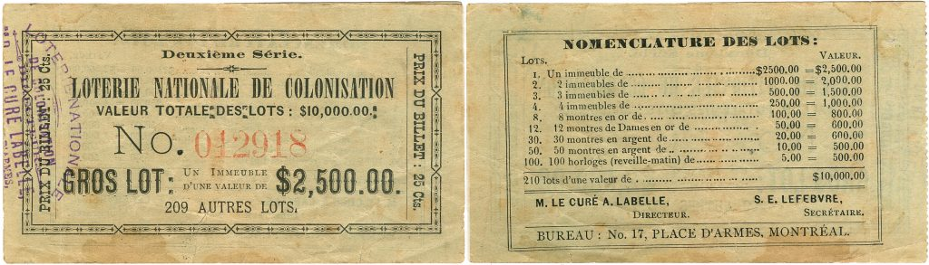 Images of the obverse and reverse of a lottery ticket printed on yellowish rectangular card stock. The obverse bears the name of the lottery, the number and cost of the ticket, and a description of the top prize. The reverse bears the list of prizes to be won and the names of two administrators.