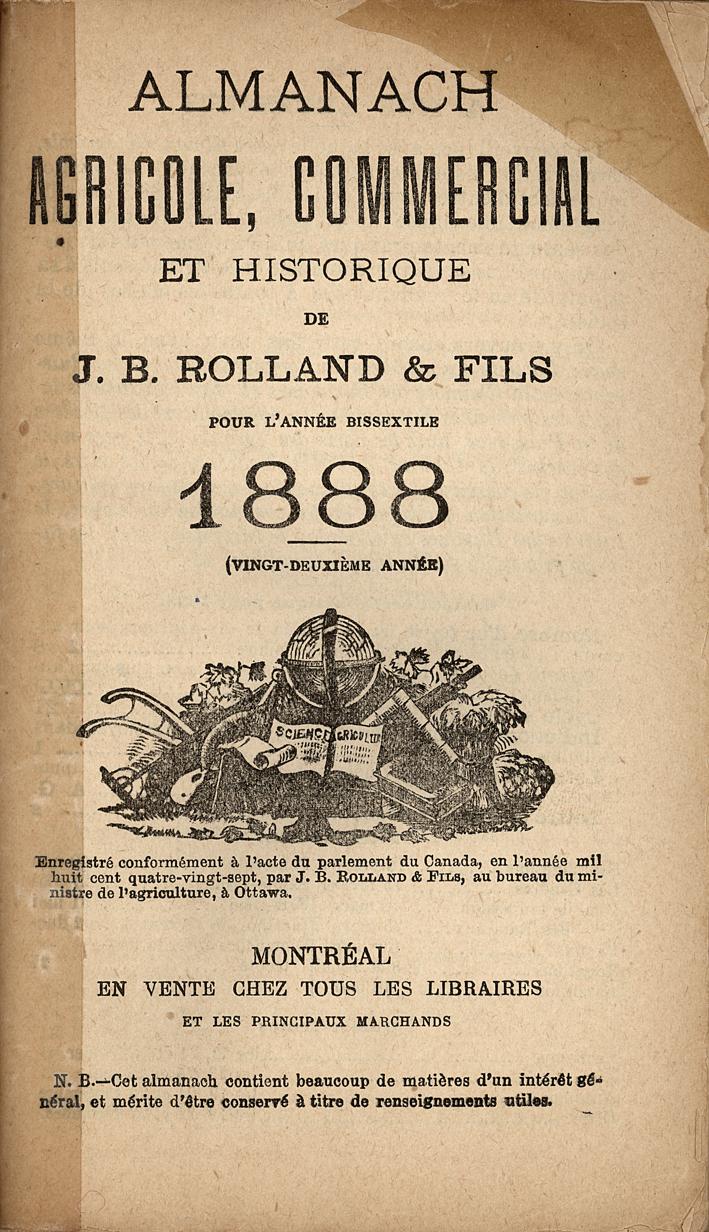 Image of the cover page of the Almanach agricole, commercial et historique for 1888, published by J.B. Rolland & fils. The page contains text printed in black ink with, at the centre, an engraving of a globe surrounded by a number of farm implements.