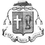 An engraving depicting the coat of arms chosen by Curé Labelle. It features an escutcheon (shield) with a pointed base, with a cross on one side and a sheaf of wheat on the other. Above is a hat, with a braided cord descending on either side of the shield. The curé's motto is inscribed in a banderole beneath the escutcheon.