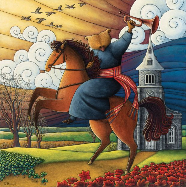 Allegorical painting depicting Curé Labelle as a bear in a cassock sitting astride a horse, holding a bugle aloft. He has an arrowhead sash around his waist. A church can be seen in the background.