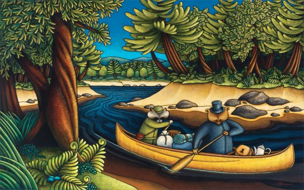 Allegorical painting representing Curé Labelle as a bear in a cassock paddling a heavily laden canoe with a raccoon. Dense forest comes down to the sandy banks of the river.