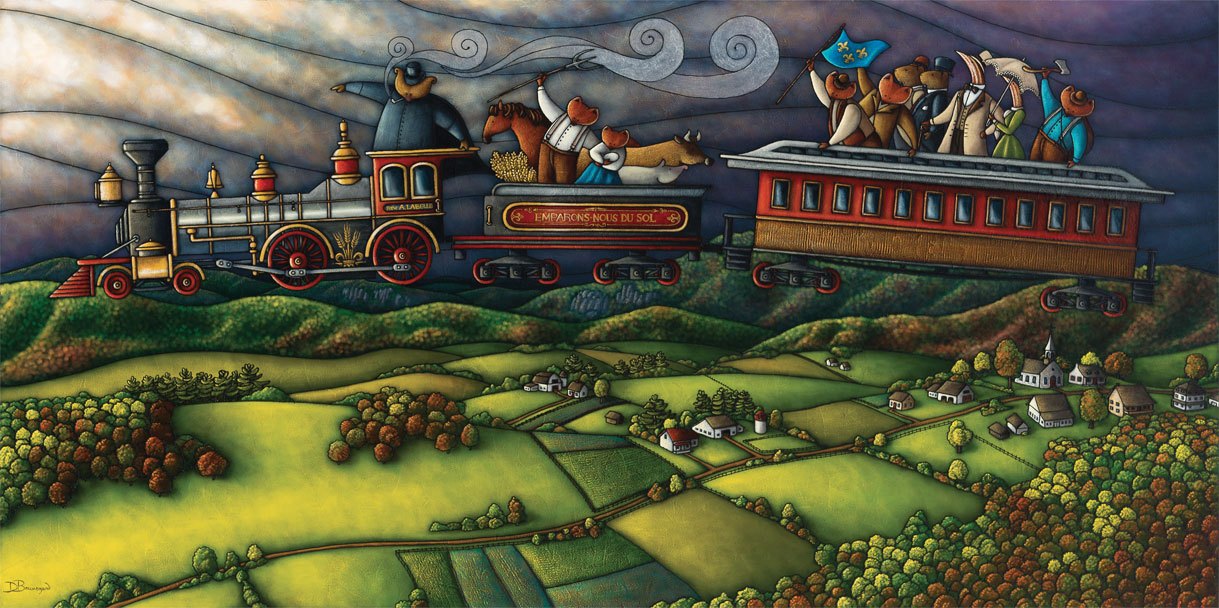 Allegorical painting depicting Curé Labelle as a bear in a cassock aboard a train flying across the sky. The passengers in the two cars look down on farmland and a village. They are represented as various Canadian woodland creatures: bear, fox, raccoon, deer, woodcock.