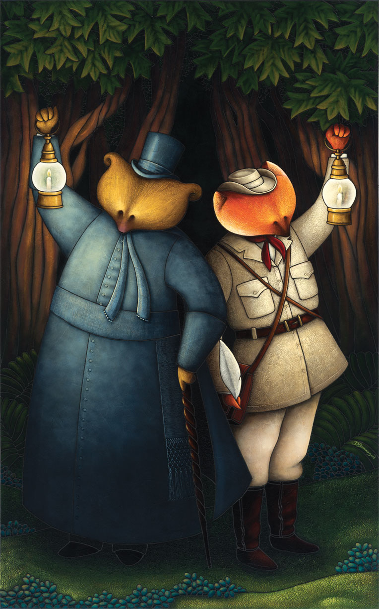 Allegorical painting depicting Curé Labelle as a bear in a cassock standing beside a fox dressed in travelling clothes. Each of them is holding up a lantern against a dark forest backdrop.