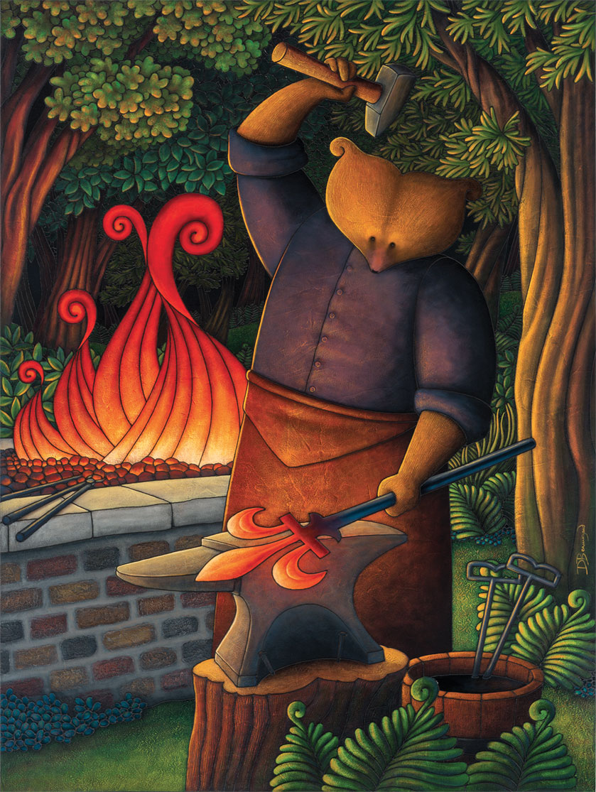 Allegorical painting depicting Curé Labelle as a bear in a cassock forging a fleur-de-lis out of red-hot iron. In one hand he holds a hammer and in the other, the metal bar he's working. A fire burns behind him.