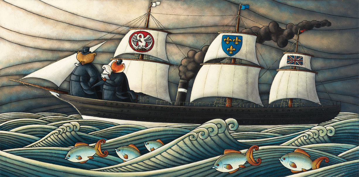 Allegorical painting depicting Curé Labelle as a bear in a cassock on the deck of a sail and steam ship. A fox holding a notebook and pencil stands by his side.