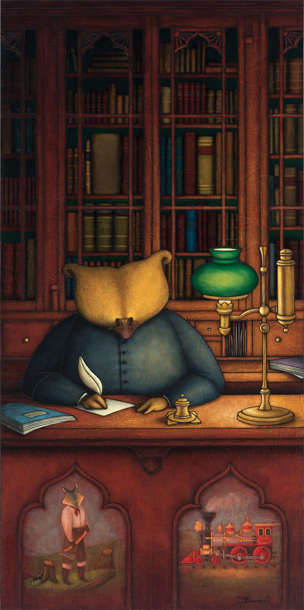 Allegorical painting depicting Curé Labelle as a bear in a cassock seated at a desk. Shelves full of books can be seen behind him. A pioneer, represented as a wolf, and a train are illustrated on the front of the desk.