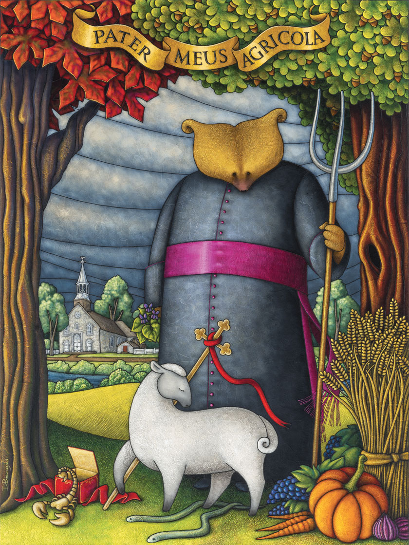 Allegorical painting depicting Curé Labelle as a bear in a cassock. Behind the standing figure can be seen a river and a stone church. The bear holds a pitchfork. In front of the bear are a sheep, a cross, a scorpion coming out of a box, two small snakes, some vegetables, and a sheaf of wheat.