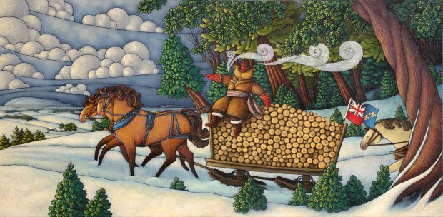 Allegorical painting depicting Curé Labelle as a bear in a cassock seated on a sleigh laden with logs and drawn by two horses. The scene is set in winter.