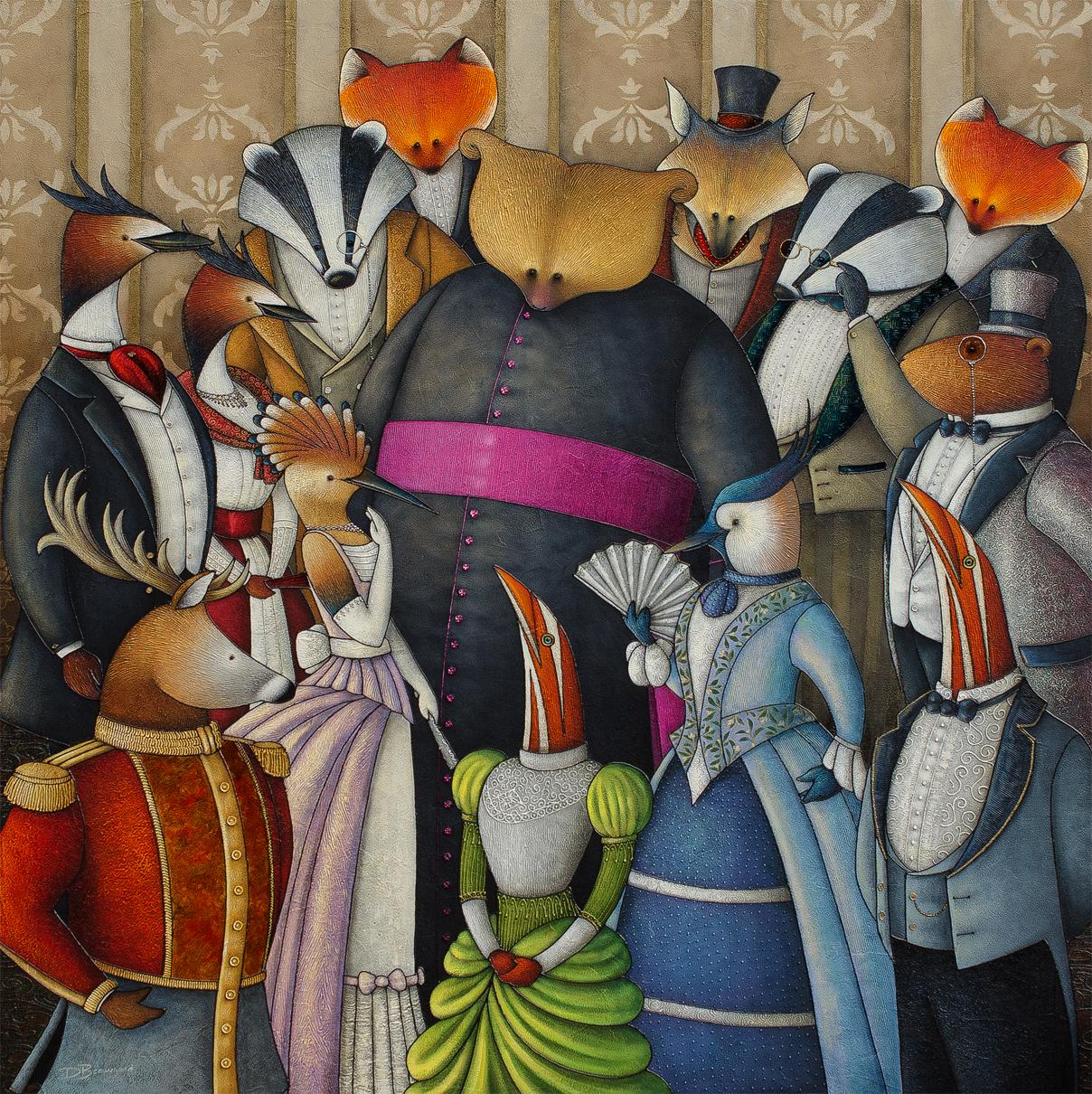 Peinture figurative illustrant le curé Labelle sous les traits d'un ours en soutane. L'ours est entouré de nombreux personnages richement vêtu : renard, belette, cerf, bécasse, pie, etc.