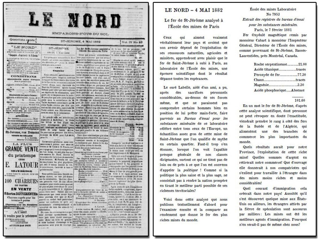 """Reproduction of an article in the newspaper Le Nord of May 4, 1882, with the headline """"Saint-Jérôme iron ore analyzed at the École des Mines de Paris."""""""