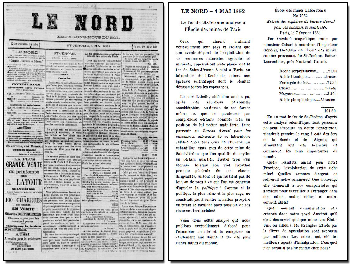"Reproduction of an article in the newspaper Le Nord of May 4, 1882, with the headline ""Saint-Jérôme iron ore analyzed at the École des Mines de Paris."""