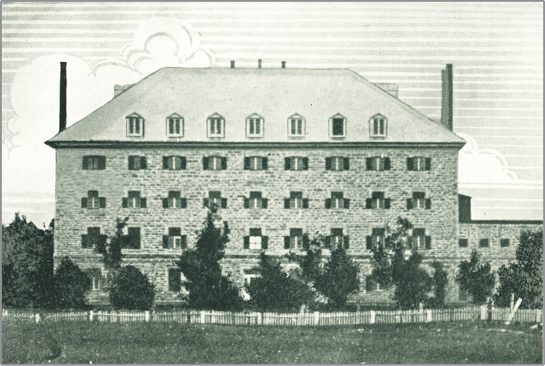 Drawing of a four-storey stone building with a hipped roof. Nine latticed windows are visible per floor, while the roof features seven dormers. Chimneys adorn each end of the roof. To the rear, at right, is a two-storey stone building. The property is ringed by a wooden fence.