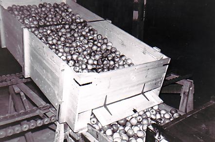 Photo en noir et blanc d'une grande benne de bois remplie de pommes et inclinée vers l'avant. Des pommes s'en échappent à travers une trappe à charnières située au bas de la benne.