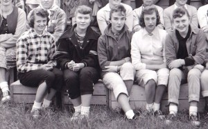 Section of a black and white photo showing five young women seated outside on wooden boxes.