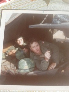 Al Murphy and fellow soldier in army tent