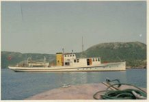 The Lady Anderson--the boat at anchor in a quiet bay.