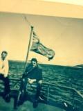 Pat Gaulton en mer sur le navire Lady Anderson